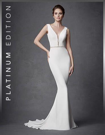 Reno sheath wedding dress front Signature th