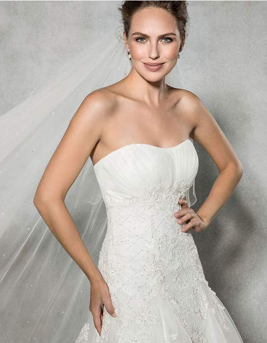 Rosalie fit _ flare wedding dress front crop Anna Sorrano