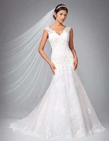 Rosette fishtail wedding dress front Anna Sorrano thumbnail