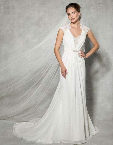 Sadie sheath wedding dress front anna sorrano th
