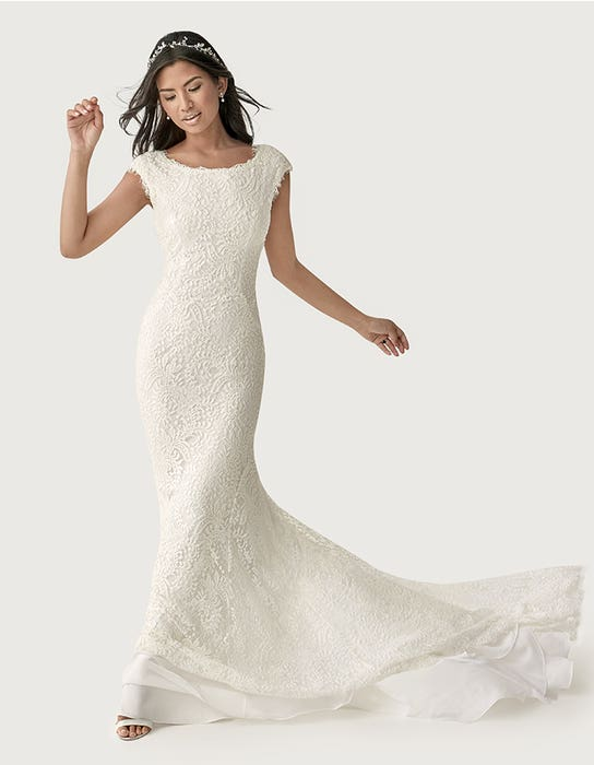 Summer sheath wedding dress front Heidi Hudson