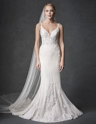 Syrah sheath wedding dress front Signature th