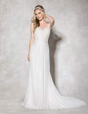 Venetia sheath wedding dress front Heidi Hudson th