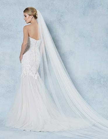 Willa bridal ivory veil back Amixi th