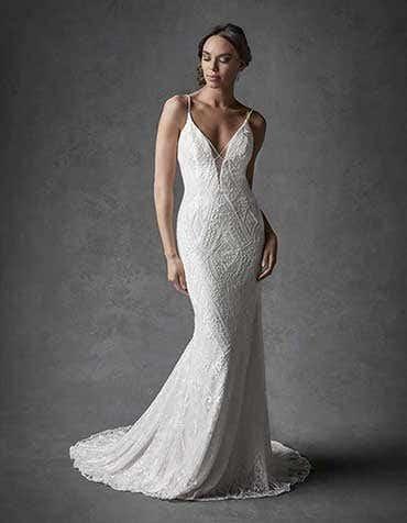 Wyatt sheath wedding dress front Signature th