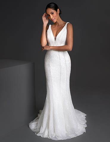 Aubrey - an opulent sheath wedding gown