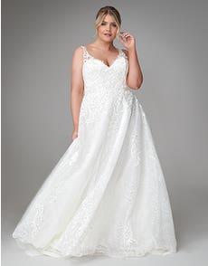 Bridgette - een chantilly jurk met versierde applicaties