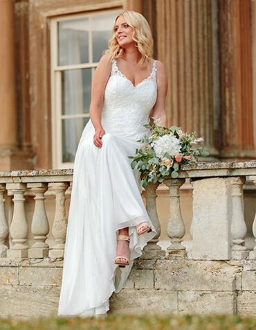 Cassia - a floaty chiffon and lace boho gown