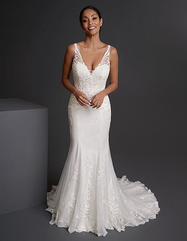 Charlie - a sparkling sheath gown with moden lace