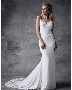 Hayden sheath wedding dress front Signature th