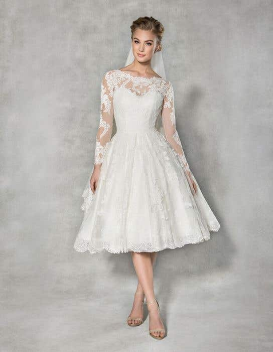 Tea Length Wedding Dress With Tulle Skirt Stella York