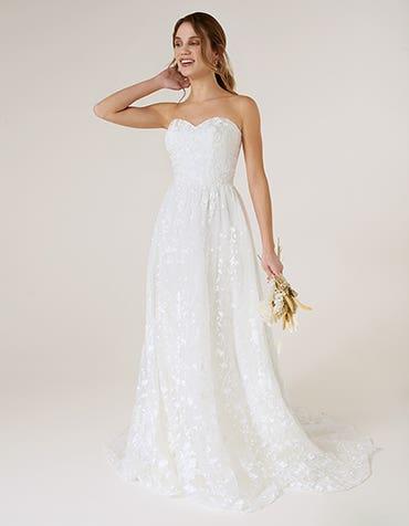 Delphine - Eine geschnürtes Brautkleid im Bohemian-Stil