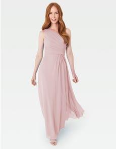 EDEN - deze elegante gedrapeerde jurk met één schouder is cool en eigentijds