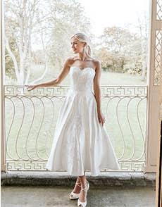 Edna - a romantic tea length wedding gown