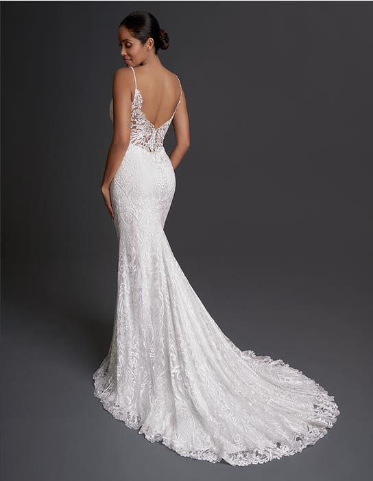 India - a fully embroidered gown with illusion back | WED2B