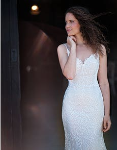 India - a fully embroidered gown with illusion back