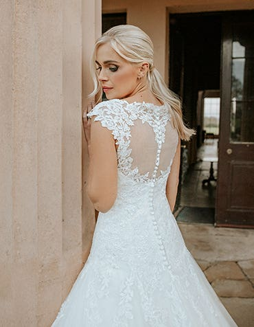 jamie fit and flare wedding dress edit back crop viva bride th