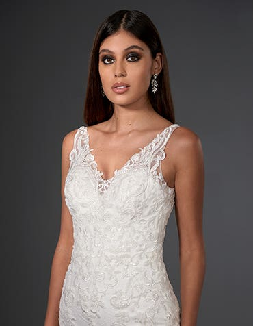 Jessie - a beaded lace sheath gown | WED2B
