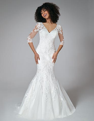 Karla - a feminine, floral sheath wedding dress