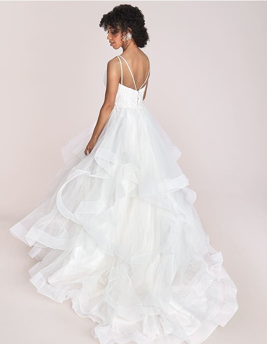 Katelyn - a modern gown with waterfall skirt and beaded straps | WED2B