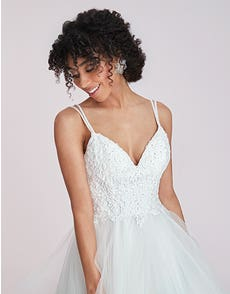 Katelyn - a modern gown with waterfall skirt and beaded straps