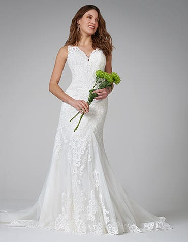 Keira - a delicately ornate lace sheath gown