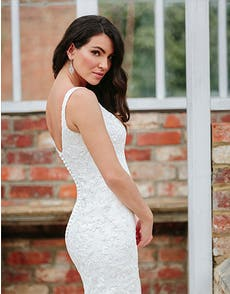 Lawson - a modern sparkling gown with button back