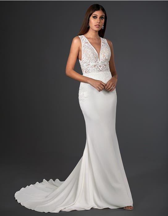 logan sheath wedding dress front signature