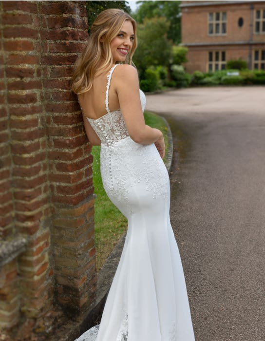 Luca - an illusion back crepe gown with statement train | WED2B