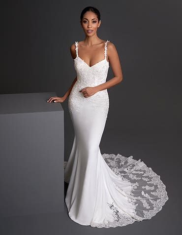 Luca - a stunning lace and crepe sheath