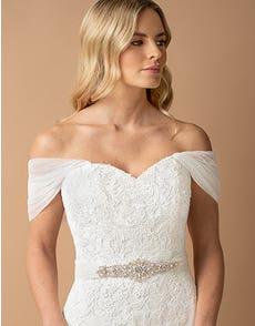 MINA - gathered soft tulle off-the-shoulder straps