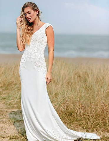 Orra - a sophisticated crepe and lace gown