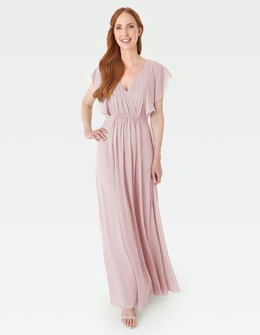 Rosa - Een modern gedrapeerd lijfje met lichtgewicht engelenmouwen