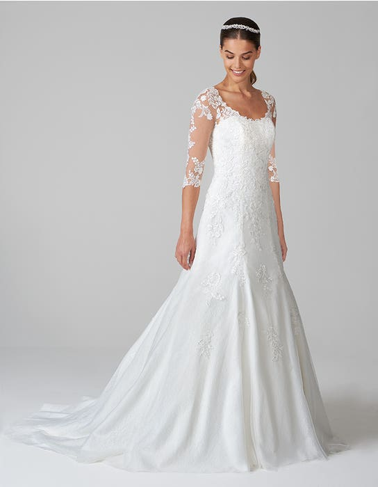 sarah fit and flare wedding dress front anna sorrano