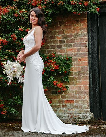 Sorrento - a classic crepe gown with floral lace