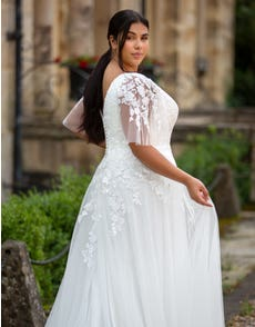 Theresa - a floaty gown with angel sleeves
