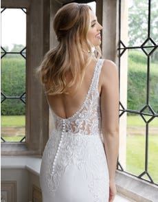 Valdez - a low back crepe and lace gown