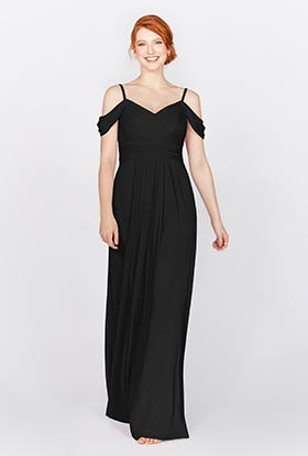 This Grecian style dress features stunning draped shoulder details.