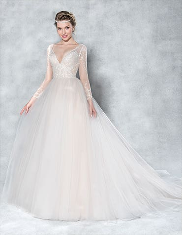 A gorgeous lace sleeved wedding dress