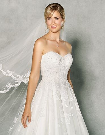 Our exclusive A-line lace wedding dress by Anna Sorrano