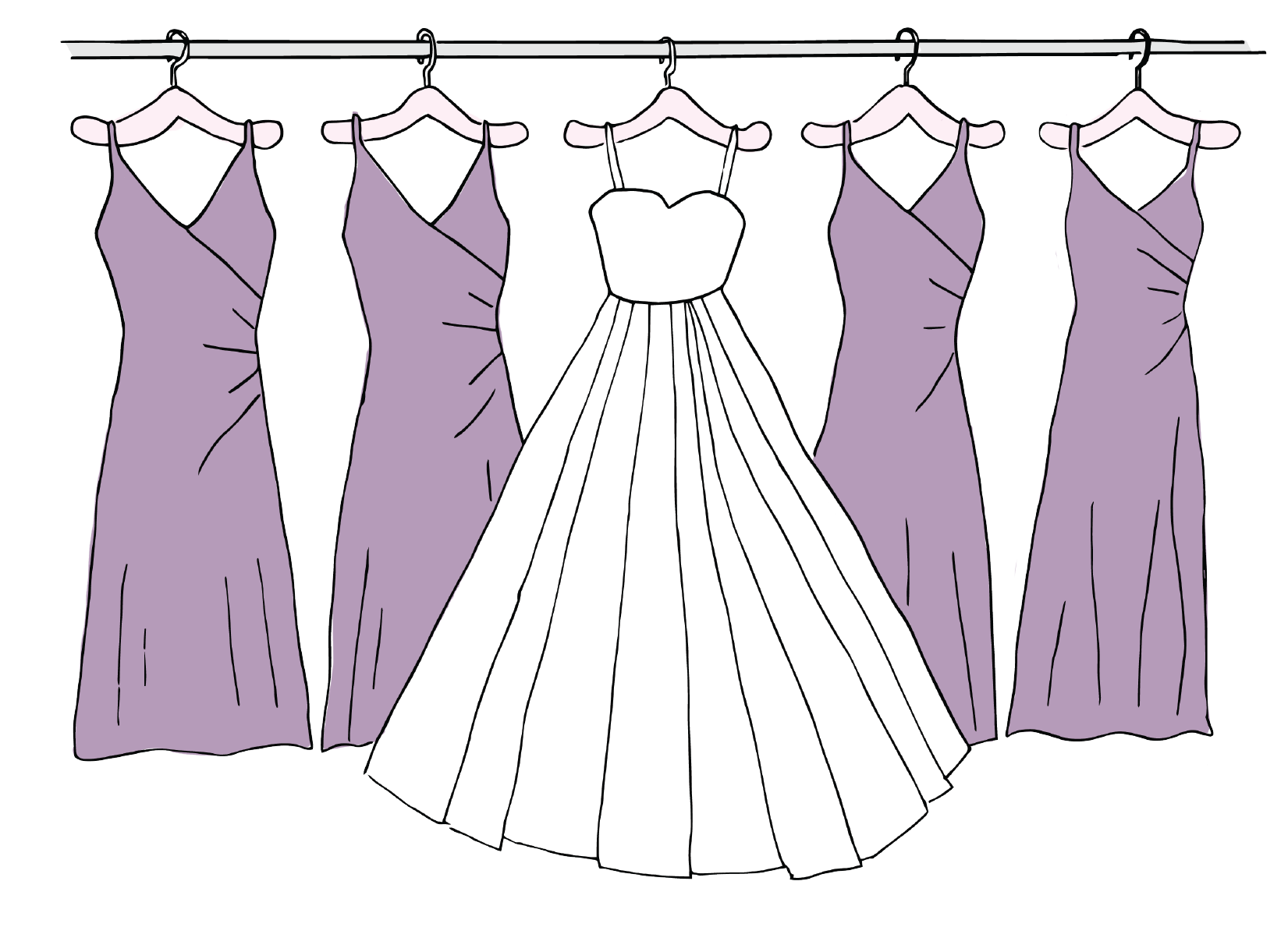 73% of brides have 4 or fewer bridesmaids, with only 7% of brides having none at all
