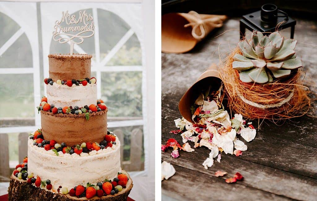 The perfect rustic wedding cake for this happy couple