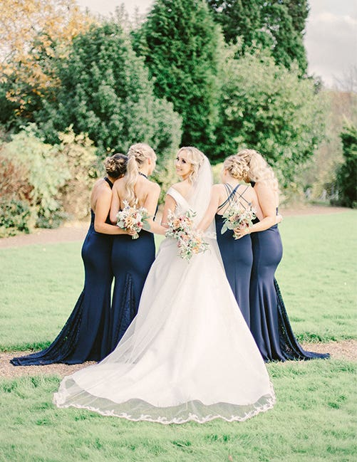 The bride and her maids at this wedding reception in West Yorkshire