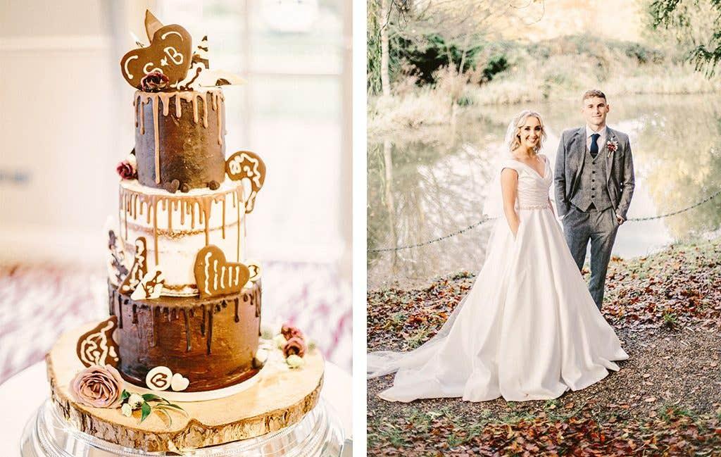Tasty wedding cake at this wedding reception in West Yorkshire