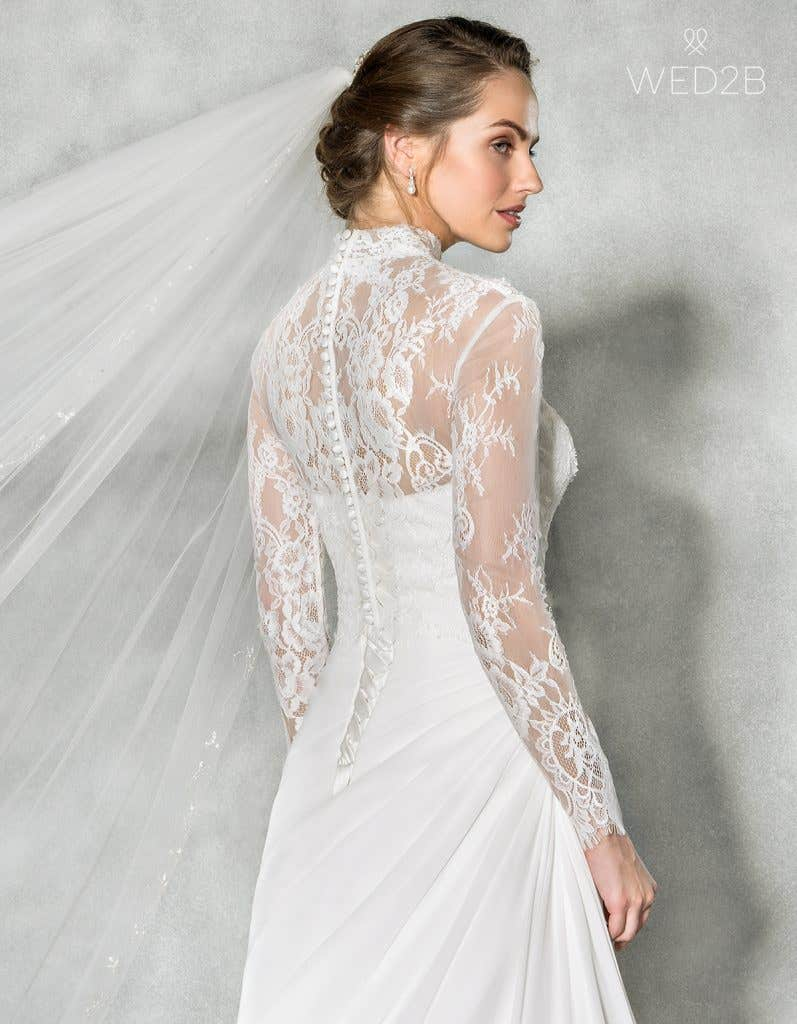Close-up back view of sweetheart neckline dress Addison by Anna Sorrano, with accessories