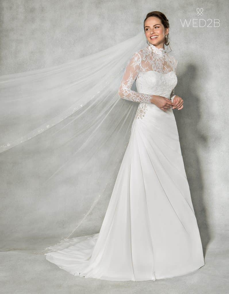 Front view of sweetheart neckline wedding dress Addison by Anna Sorrano, with accessories