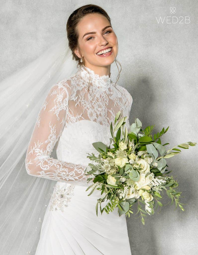 Close-up front view of sweetheart neckline dress Addison by Anna Sorrano, with accessories
