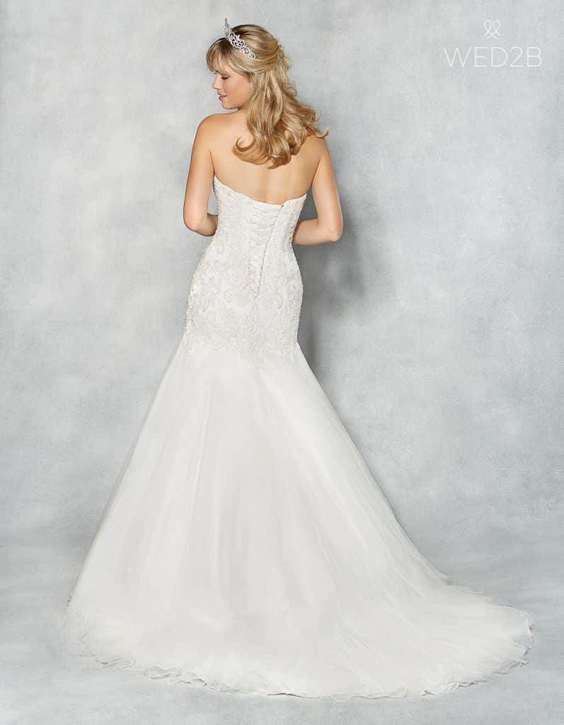 Back view of sweetheart neckline wedding dress Amanie by Viva Bride, with accessories