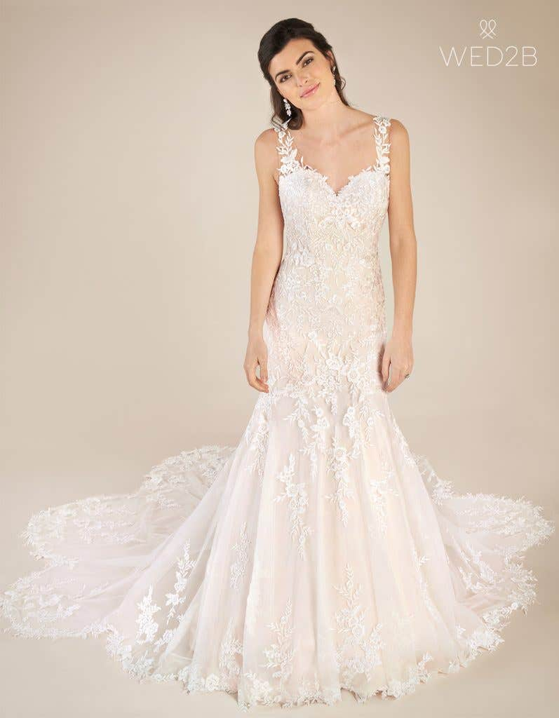 Front view of sweetheart neckline dress Marlow by Viva Bride, in blush