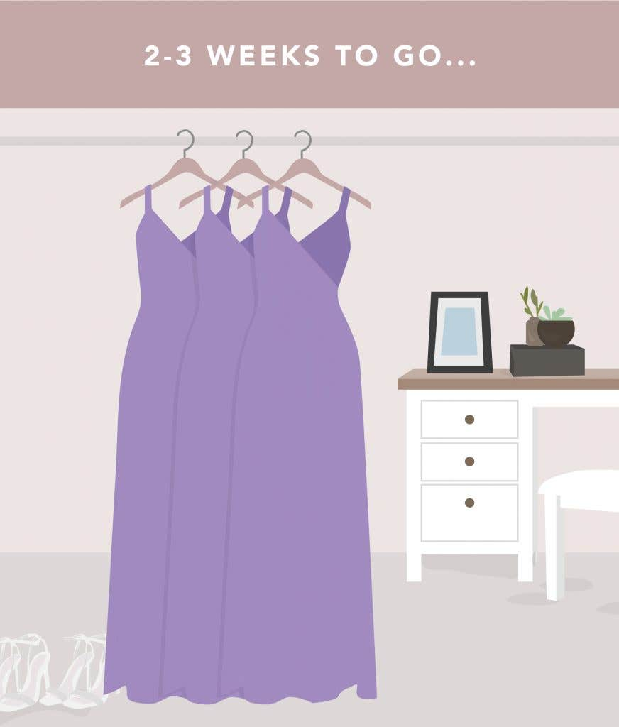 2-3 weeks to go on your wedding planning checklist